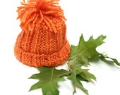 Orange Preemie Baby Hat- Hand Knitted Cap- Charity Donation- Boy or Girl- Baby Beanie, Pom Pom- Free US Shipping