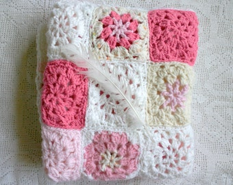 Baby Blanket Crochet- Made To Order- Shades of Pink, White, Cream- Baby Girl