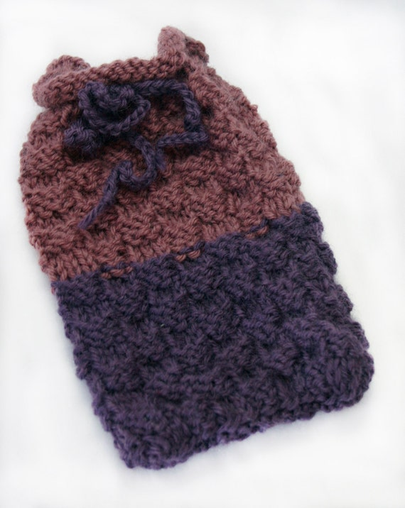 Purple Knitted Pouch- Gift Pouch- Hand Knitted Cozy- Drawstring- Basketweave Texture