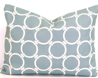 BLUE GRAY PILLOW.12x16 or 12x18 inch.Pillow Cover.Decorative Pillow Cover.Housewares. Slate Blue Gray.Grey.Pillow.Cm.Cushion Cover.Circles.