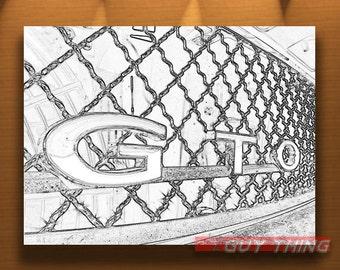 Pontiac GTO, Car Photograph, Muscle Car Picture, Car Art, Black and White, Automobile Art, Automotive Art, Murray Bolesta Cars, Line Drawing