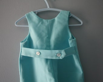 Vintage handmade aqua blue romper / bib overalls / baby boy girl newborn 0 to 3 months