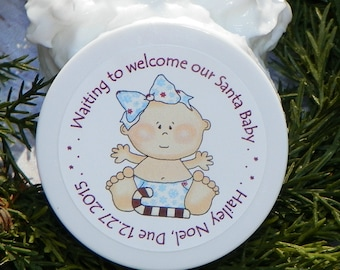 Baby Shower Favors - Personalized Whipped Body Butter (Santa Baby Design #6 - Girl)