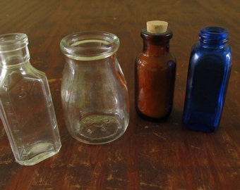Antique Vintage 4 (Four) Apothecary Bottles, Vintage Cobalt Medicine Bottle, Antique Apothecary Bottle with Cotton Included, Antique Bottles