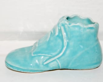 Vintage Baby Shoe Planter, Pottery, Home Decor, Nursery Decor