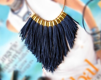 Navy statement FRINGE statement necklace with leather, gold, tassels and clay bead NEXT ROMANCE - boho chic handmade contemporary jewellery