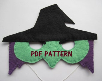 PDF PATTERN: Witch mask sewing tutorial - Black Green Purple felt DIY childrens costume - boys girls Dress Up play Halloween accessory