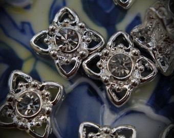 Genuine Silver Plated Swarovski Crystal 2 Hole Sliders V100
