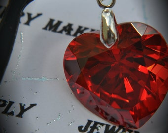 AAA Silver Plated Heart  Pendant With Bright Red Cubic Zirconia