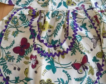 Vintage 1960 Cotton Apron with Butterflies and Cheerful Colors