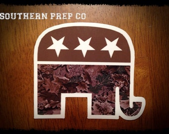 "SALE Camo Republican Bumper Diecut Sticker 3.5""x4"""