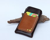 iPhone Leather case with card slot (for iPhone5/5s/5c with slim case) -Dark Brown - Men/Women