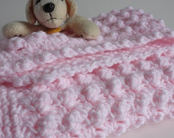 Pink handmade extra thickness crochet baby blanket/shawl. Ideal Christening / shower /new baby gift.