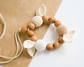 Crochet Teething Ring - handmade baby teether, wooden teether, eco-friendly teething toy - FrejaToys