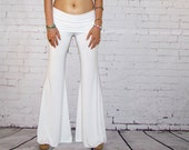 White Yoga Pants women's bell bottoms palazzo wide leg boho beach  flowy widelegs dance lounge activewear
