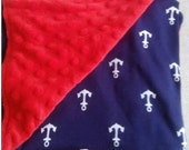 Minky and Cotton Baby Blanket, Personalized baby blanket, Red and Blue Anchor print blanket