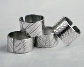 chevron design embossed adjustable ring silver aluminium