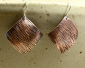Large Square Copper Earrings, Hammered Copper Earrings, Dangle Earrings, Primitive Earrings, Rustic Earrings, Large Earrings