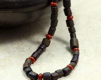 Black Glass Bead and Jasper Necklace, Glass Bead Necklace, Indonesian Glass Beads, Red Jasper Necklace, Primitive Necklace