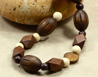 Wood and Mother of Pearl Necklace, Strand Necklace, Long Necklace, Chunky Necklace