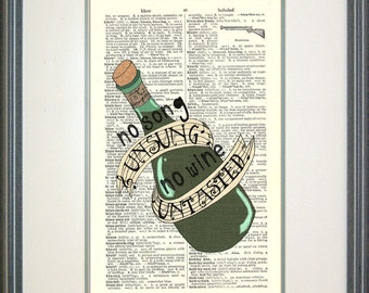 No Song Unsung Les Mis Print on Vintage Book Page, I Dreamed a Dream, Les Miserables, Fantine, Wine, Musical Quotes