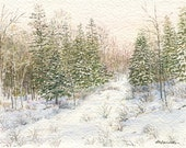 Winter Forest, Art Print of Watercolor Painting, Woodland, Snow Scene, Landscape, Trees, Snowy