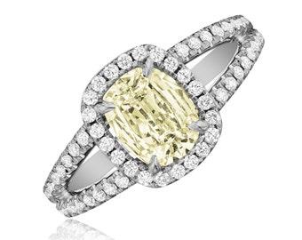18K WG Cushion Diamond Engagement Anniversary Ring 2.24 CT Pave Set Fancy Yellow