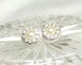 Pearl and Rhinestone Stud Earrings- Bridesmaid Earrings- Bridal Statement Studs- Bridal Earrings-Pearl Bridal Earrings- Rhinestone Earrings