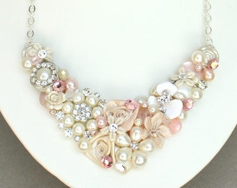 Pink Bridal Necklace-Pink Floral Statement Necklace-Pink Bridal Jewelry-Bridesmaid necklace- Pearl bridal necklace- Pink floral bib necklace