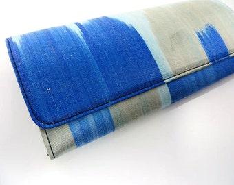 SALE/Ikat Clutch/Light Blue/Dark Blue/Gray/Medium Clutch/9x4/