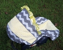 Grey Chevron Stripe yellow minky baby car seat cover infant seat cover slip cover Graco fit or evenflo