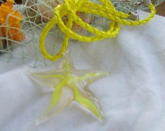 Neon Yellow Stripe Starfish Necklace