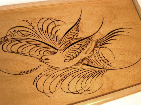 Calligraphy Bird Pyrography Wooden Box 9 5 X 6 5 By Dekomuse