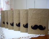 mustache card set, thank you mustache cards, thank you card set, kraft thank you cards, Movember cards, hostess gift, set of 6