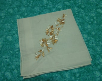 Vintage White and Gold Floral hanky, hankerchief for Wedding hanky, bridal hanky, vintage hanky, Valentines, Spring, Easter by MarlenesAttic