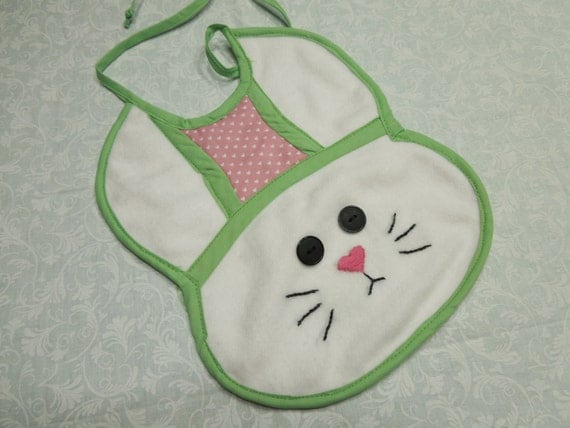 One Handmade Bunny Rabbit baby bib for baby shower, infants, gifts, stocking stuffers, holiday, christmas by MarlenesAttic