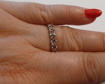 Size 7 1/2  silver and pink rhinestone ring