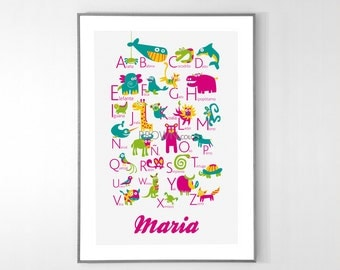 Personalized Spanish Alphabet Poster with animals from A to Z, BIG POSTER 13x19 inches - Baby Children Nursery Custom Wall Print Poster