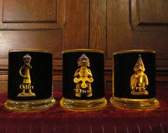 Odin, Thor, Frey (set of 3) Candleholders