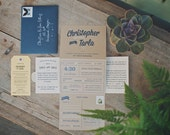 The Driftwood: Screen-Printed Kraft Tri-Fold Accordion Wedding Invitation Suite