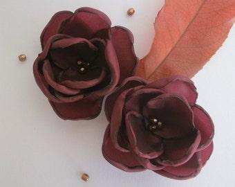 Burgundy plum wine fabric flowers, Bridesmaids hair shoe clips, sash dress sew on ornament, handmade Wedding accessory hair flower, brooch