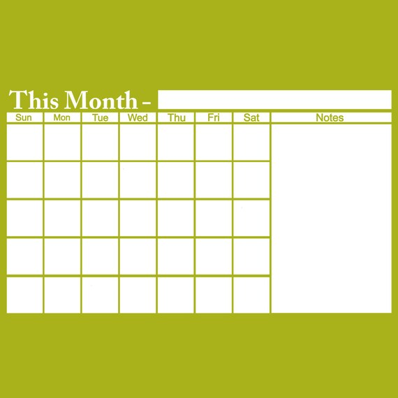 White board Monthly Planner wall Calendar Vinyl Decal