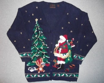 Night Before Christmas Santa Claus Delivering Presents Under The Tree Winter Tacky Gaudy Ugly X-Mas Sweater Party Contest Winner L Large