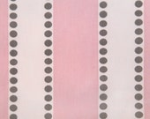"""TWO Curtain Panels, 25"""" x 108"""" - Two different shades of light pink with Brown Polka Dots"""