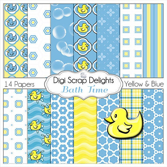 Rubber Duck Clip Art, Rubber Ducky Digital Papers in Blue & Yellow for CardMaking, Invites, Baby Shower, Instant Download