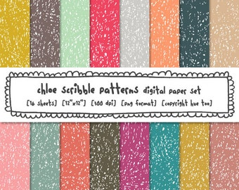 scribble digital backgrounds, girls digital paper, pink aqua teal blue gray mustard yellow grunge textured scribbled hand drawn 556