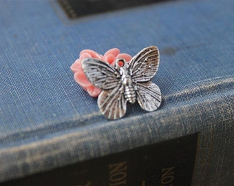 12 pcs Antique Silver Butterfly Charms 19mm (SC103)