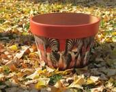 AFRICAN ZEBRA POT, Decoupage Art, Home Decor Vase, Artistic Ceramic and Pottery