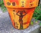 EXOTIC AFRICAN Pot /African Clay Pot / Safari Home Decor  / Flower Pot / Planter gift pot / Unique Pot