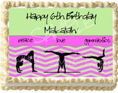 Green and Pink Gymnastics Cake Topper - Choose Your Size